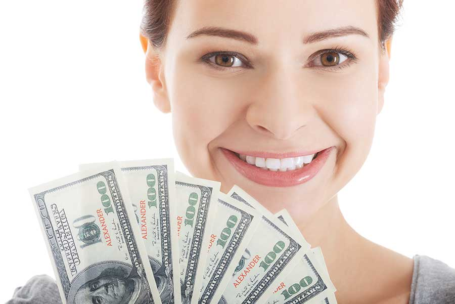 happy woman with cash