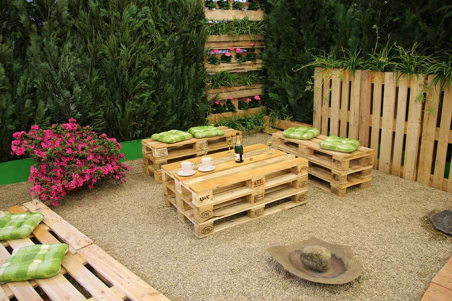 Pallets reclaimed for outdoor furnature