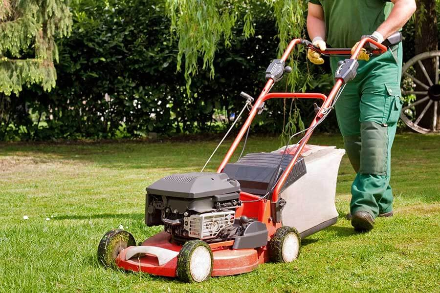 lawn care professional mowing lawn