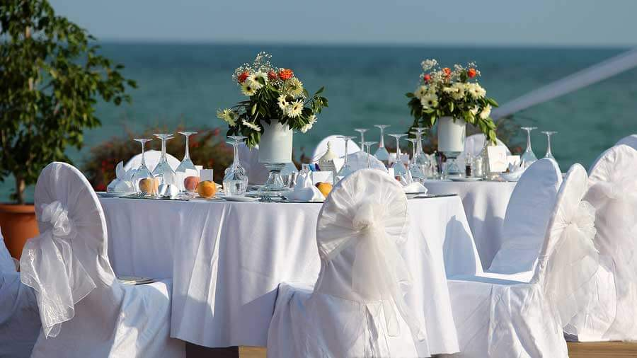 Table setting at an Outdoor Wedding